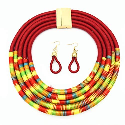 EMFGJ Gargantilla gruesa de múltiples capas, collar colorido hecho a mano, collar de babero, regalo para mujeres y niñas, color rojo
