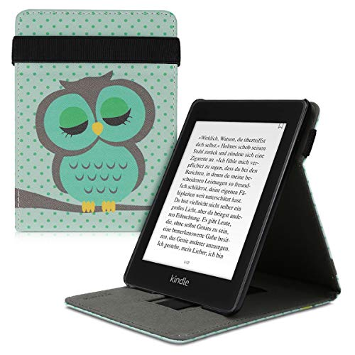 kwmobile Funda Compatible con Amazon Kindle (10. Gen - 2019) / Kids Edition - Carcasa para e-Book de Cuero sintético - búho dormilón Turquesa/marrón/Menta