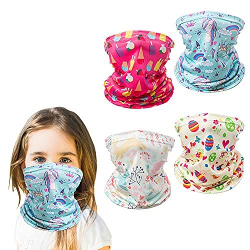 4PCS Kids Neck Gaiter Face Mask Bandana Boys Girls Reusable Face Scarf Balaclava