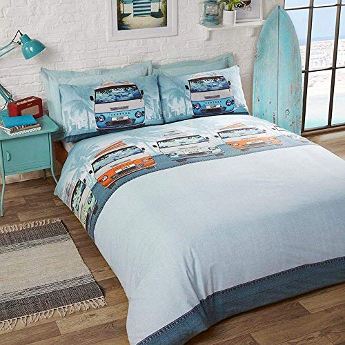 Rapport Retro Campervan King Duvet Quilt Cover Bedding Set, Blue