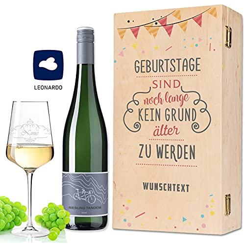 Leonardo Weinglas mit Gravur inkl. bedruckter Holzkiste + Tandem Riesling 0,75 l - Geburtstagsgeschenk für Frauen & Männer - Wein Geschenkset - Wein des Jahres 2018 Farbe Weiß