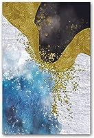 QYMeng-北欧抽象モダンゴールドブルーグリーンポスター壁アート写真ポスターキャンバス絵画装飾ホームリビングルーム-60x80cmフレームなし