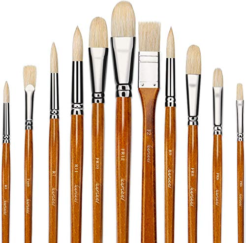 Fuumuui 11pcs Professional Paint Brush Set, 100% Natural Chungking Hog Bristle Artist Brushes for Acrylic and Oils Painting with a Free Carrying Box
