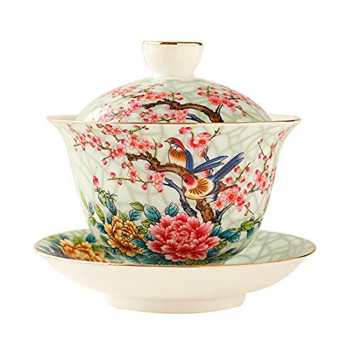 Ameolela Chinese Traditional Teaware Handmade Enamel Painted Porcelain Tea Cup Gaiwan Kungfu Tea bowl with Lid and Saucer - 5oz150ml