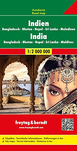 F&B India, Nepal, Bangladesh, Bhutan, Sri Lanka: Wegenkaart 1:2 750 000