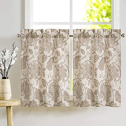 JINCHAN Kitchen Curtains Paisley Scroll Printed Linen Short Window Curtains Tiers for Bathroom Medallion Design Burlap Vintage Jacobean Floral Cafe Curtains 24 Inch Length 2 Panels Taupe