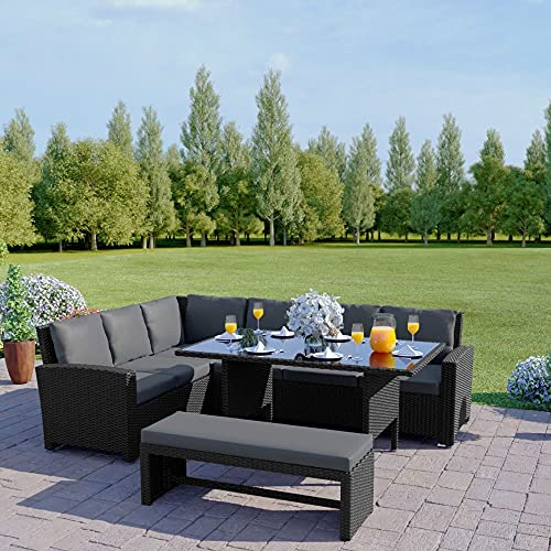Abreo 9 Seater Corner Rattan Dining Set Garden Sofa Furniture Black Brown Grey (Black with Dark Cushions BENCH) INCLUDES OUTDOOR WATERPROOF COVER
