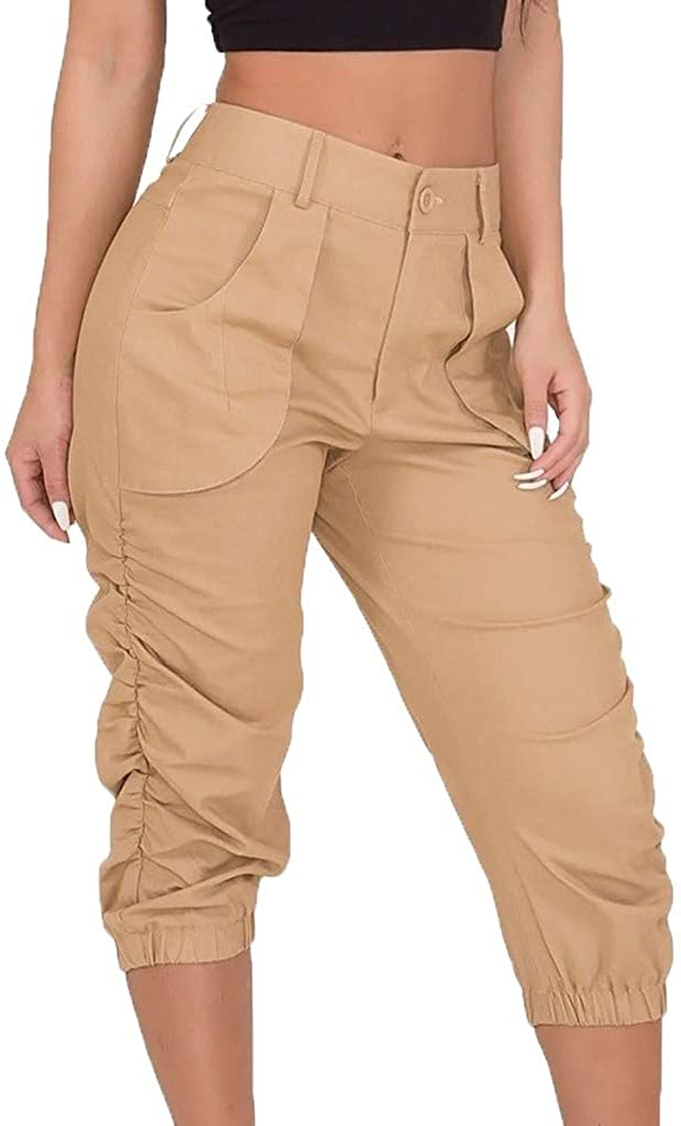 Cropped Pants for Women Casual Loose Summer Yoga Cargo Capris Harem Trousers Lounge Joggers Sweatpants with Pockets