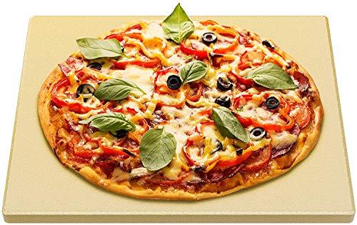 only fire Pietra per Pizza Rettangolare in Cordierite,Pietra refrattaria per Forno e griglia a Gas,Pietra refratteria in Cordierite Fino a 1200°C,38 * 30 * 1.5cm