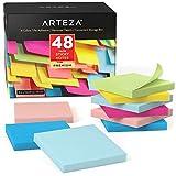 Arteza Notas adhesivas 76 mm x 76 mm | 48 tacos de 100 hojas | Paquete de posits de colores surtidos | Reutilizables sin dejar marca | para la oficina y el hogar