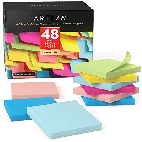 Arteza Notas adhesivas 76 mm x 76 mm   48 tacos de 100 hojas   Paquete de posits de colores surtidos   Reutilizables sin dejar marca   para la oficina y el hogar