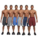 Zupo 6 Pack: Men's Active Performance Quick-Dry Athletic Basketball Workout Gym Knit Shorts with Pockets (L, Set B)