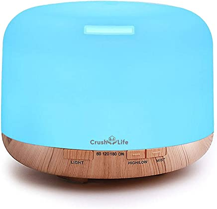 Oil Diffuser, 500ml Remote Control Essential Oil Diffuser,Crush on Life Wood Grain Large Capacity Aromatherapy Diffuser, Cool Mist Ultrasonic Diffuser Humidifier Aroma Diffuser with 7 Color LED Changing Lights Waterless Auto Shut-off for Bedroom Office Home Baby Room Yoga