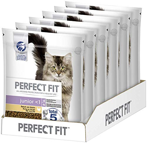 PERFECT FIT Katzenfutter Trockenfutter Junior <1 Kitten/Kätzchen Reich an Huhn, 6 Beutel (6 x 750g), 4500 g