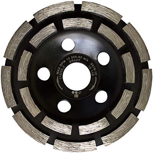 GRAFF® Diamant Schleiftopf 115mm, Beton Schleifscheibe für Stein, Beton, Fliesenkleber, Granit, Mauerwerk. Professional Betonfräse für Winkelschleifer