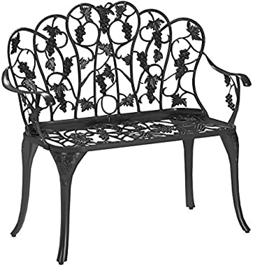 Outdoor Grapevine Bench for Yard, Garden, Patio, Powder Coated Cast Aluminum Frame, 2 Person Seat 41.75 W x 20.75 D x 33.5 H