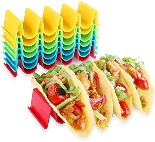 cersaty 8 Stück Taco Halter,U-Picks ABS Taco-Halterung für Halten Tacos, Sandwiches, Brot, Hot Dogs und Pfannkuchen, Ideal für Kinder und Partys(4 Farben)