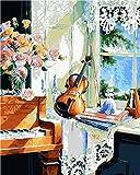 Pintura por Números para Adultos y Niños, Flores de piano en el alféizar de la ventana Dibujos para Pintar con Números, DIY Pintura al Óleo por Números Decoración del Hogar 40 x 50 cm(Sin Marco)
