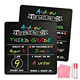 Board2by First Day of School Chalkboard Reusable - 12' x 12' Double Sided Small Chalkboard Easy Clean, Back to School Board for Kids, Last Day of Kindergarten Sign Photo Prop