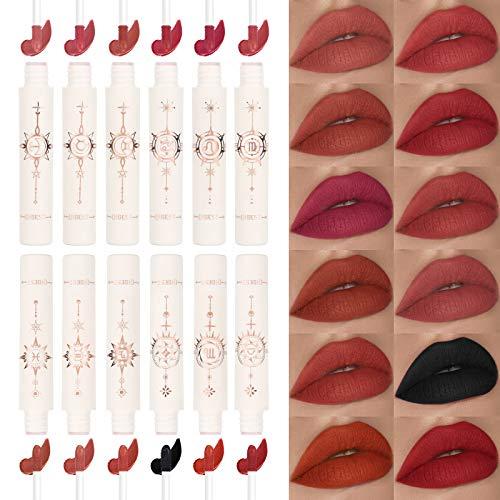 12pcs Zodiac Makeup Matte Liquid Lipstick Set - High Pigmented Rich Color - Velvet Finish Waterproof Long Lasting Nude Black Red Full Lip Ink Gloss for Girls Women Make Up Gift Kit