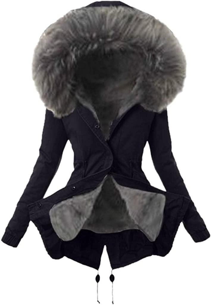 JOFOW Winter Coat Womens Hooded Overcoat Warm Thick Mid Long Jacket Fashion Trench Sherpa Lined Jacket Casual Outwear