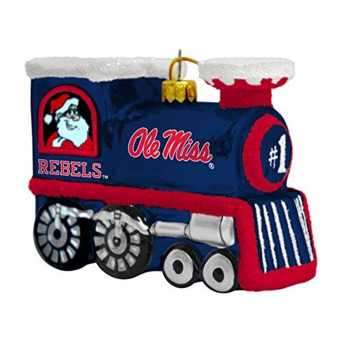 NCAA Mississippi Ole Miss Rebels Blown Glass Train Ornament