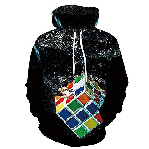 YCHY Sudadera con Estampado 3D, Moda Unisex Hoodie Novedad Colorido Cubo De Rubik Digital Print Pullover Bolsillos Manga Larga, con Bolsillo Tamaño S-6XL,XXXXL
