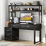 Tribesigns 55 Inch Computer Office Desk with 4 Drawers and Storage Shelf, Industrial Study Writing Table Workstation with Hutch and Bookshelf for Home Office (Black)