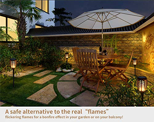 GOGOMY Solar Lights Outdoor 96 LED Flickering Flame Solar Powered Garden Torch Lights Dusk to Dawn Auto On/Off IP65…