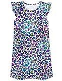 UNIFACO Girls Nightgowns Flutter Sleeve Printed Night Dresses Cute Sleepwear Princess Pajamas Homewear Shirt