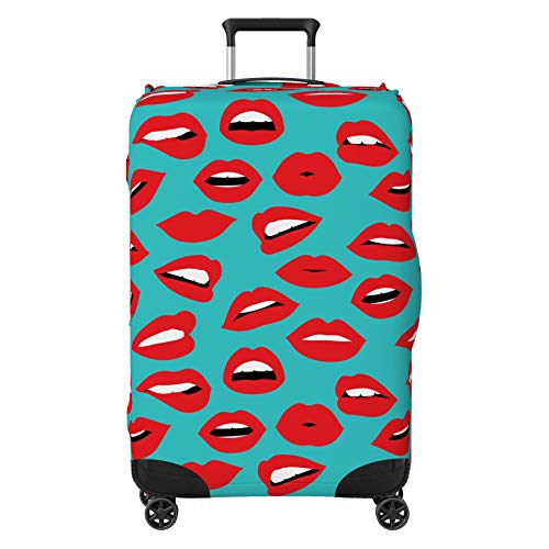 Red Lips Kiss Suitcase Cover Protector Skin Turquoise Large 30' - 32' (Suitcase Not Included)