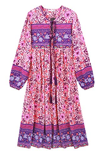 R.Vivimos Women's Long Sleeve Floral Print Retro V Neck Tassel Bohemian Midi Dresses (Large, Pink)