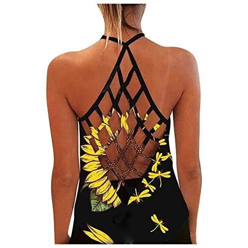 Damen Sexy Bluse Weste Mode Tanktop, personalisiertes, bedrucktes, sexy, rückenfreies Tanktop für Damen,Sporttop Yoga Rückenfrei Oberteil Laufen Fitness Funktions Shirt Tank Tops(07-Gelb:S)