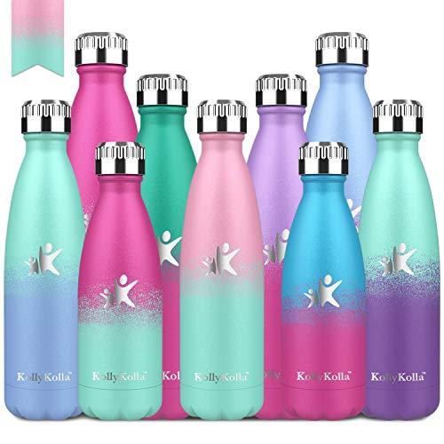 KollyKolla Vakuum Isolierte Edelstahl Trinkflasche, 750ml BPA Frei Wasserflasche Auslaufsicher, Thermosflasche für Kinder, Schule, Mädchen, Sport, Outdoor, Fahrrad, Büro (Rosa & Macaron Grün)