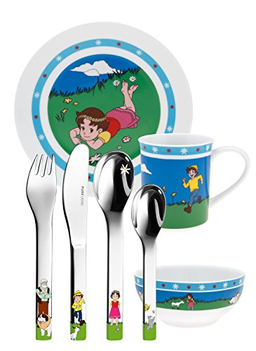 Puresigns ONE Heidi Kindergeschirr Porzellan Kinderbesteck Edelstahl Poliert Silber 7-teilig
