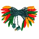 ASSEMBLY MATERALS:These chilies are made of mold, have a comfortable hand touch feeling, durable and hard to damage, have a weather resistance to fight against the wind blowing and realistic effect STRING LIGHTS DESIGN:30 Feet and 35 Lights, Each chi...