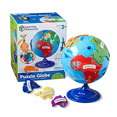 Learning Resources Puzzle Globe, 3D Geography Puzzle, Fine Motor, 14 Pieces, Ages 3+