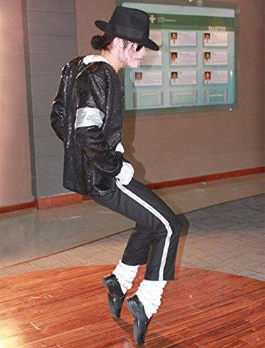 Costumi per Danza di Michael Jackson Adulto Bambino Unisex Travestimento Costumi per Billie Jean Danza 5Pcs: Cappotti Pantaloni Cappello Calze Guanto per Halloween Natale (S (H:150-165cm W:45-55kg))
