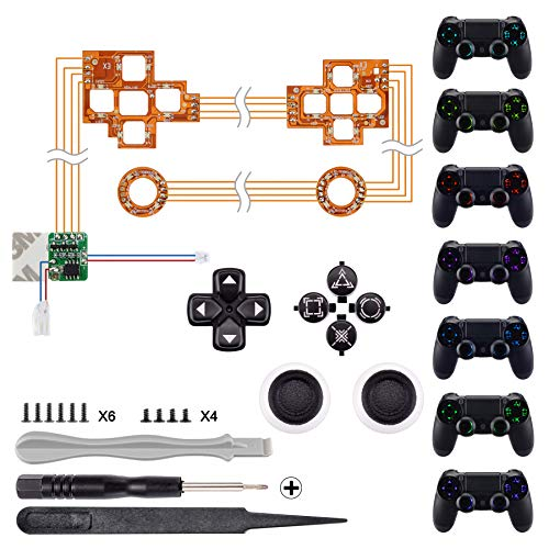 eXtremeRate Tasten Knöpfe Button Thumbsticks D-Pad Steuerkreuz DTF LED Kit für Playstation 4 PS4 Controller(Leuchttaste)
