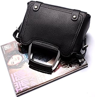 Leather 2018 New Women's Handbag Leather Handbag Leather Shoulder Wallet Handbag Wallet Waterproof (Color : Black, Size : M)