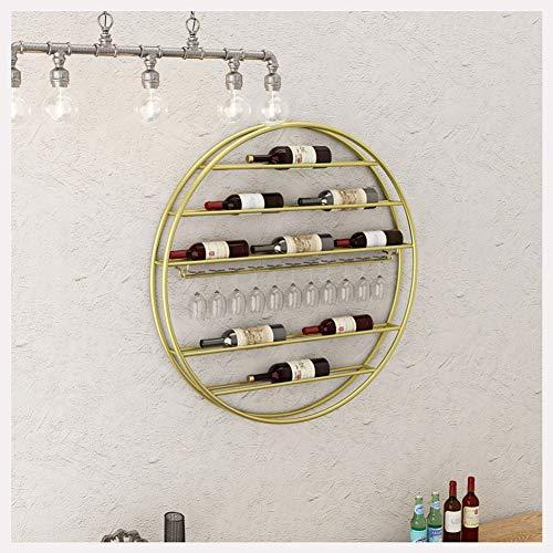 WEIJINGRIHUA Montado en la Pared del Estante del Vino del Hierro Vino del Arte Colgador Estante del Vino La Creatividad de los hogares Estante de la Botella de la Personalidad Creativa (Color : Gold)