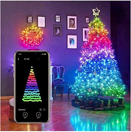 Luci della Decorazione Dell'albero di Natale, Luci della Stringa LED Personalizzate, Luce del Telecomando Dell'app per La Decorazione del Giardino Dell'albero di Natale