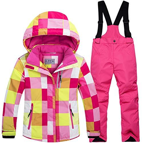 LPATTERN Kinder Jungen/Mädchen Skifahren 2 Teilig Schneeanzug Skianzug(Skijacke+ Skihose), Pink Jacke+ Pink Trägerhose, Gr. 128/134(Herstellergröße: 10A/130cm)