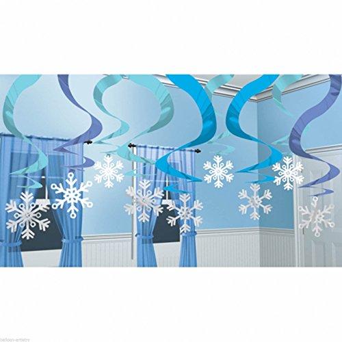 15 Blaue Schneeflocken-Spiralen Hänge-Deko 60cm