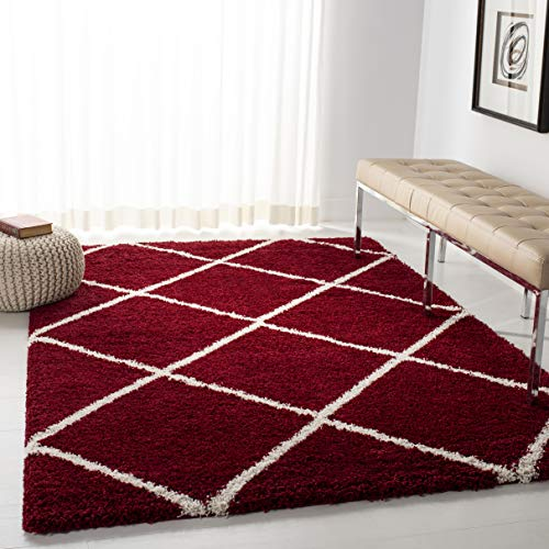 "Safavieh Hudson Shag Collection SGH281R Red and Ivory Moroccan Diamond Trellis Area Rug (5'1"" x 7'6"")"