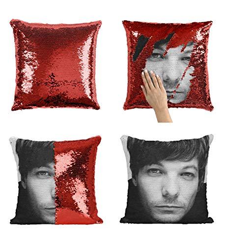 Louis Singer Tomlinson OD3 - Funda de almohada con lentejuelas (45,7 x 45,7 cm), diseño con texto en inglés 'Girl Stuff Boys'