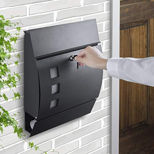WOOHSE Briefkasten Anthrazit mit Zeitungsfach, Sichtfenster, Namensschild, abschließbar, 2 Schlüssel, einfache Montage, Maße: BxHxT: 350 x 450 x 110 mm