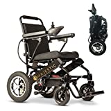 2020 Deluxe Electric Wheelchair with Bluetooth Remote Control, Motorized Aviation Travel,Lightweight Folding Safe Electric Wheelchair, Powerful Dual Motor {Black 17.5 inc}