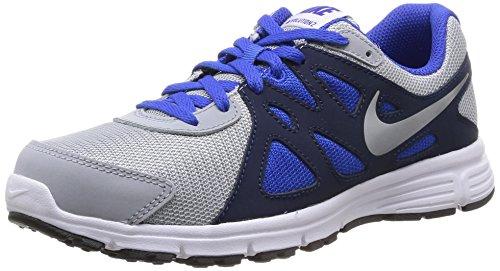 Nike Revolution 2 GS, Jungen Laufschuhe, Grau (Wolf Grey/White-Lyon Blue-Black), 36 EU (3.5 Kinder UK)