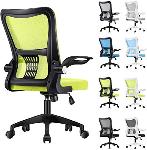 FENGLI Adjustable Height Ergonomic Office Chair,Breathable Mesh Desk Chair with Lumbar Support,120deg; Recline Computer Chair Rolling Swivel with Wheels and Flip-up Armrest (Color : Black+Green)